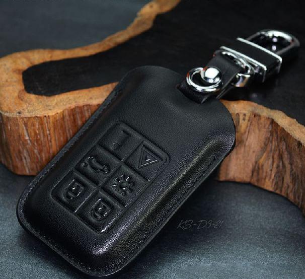 High Quality Volvo Black Genuine Leather Remote Keyless Key Case With Keychain For XC60 V40 S80l V60 S60l(China (Mainland))