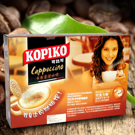 Free shipping 24 cups Imported from Indonesia KOPIKO cappuccino coffee instant 432 g new 2015 cafetera
