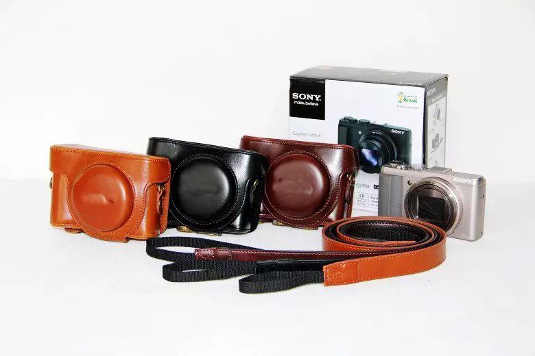 Retro Vintage Leather Camera Bag Camera case for Sony Cyber-Shot DSC-HX50V HX50 HX60 LCJ-HN Camera Hard Shoulder Bag with Strap(China (Mainland))
