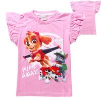 Little girls Skye patrol T shirts tops hot sale children clothing Dog printing rose kids blouse designer camisetas nina infantil