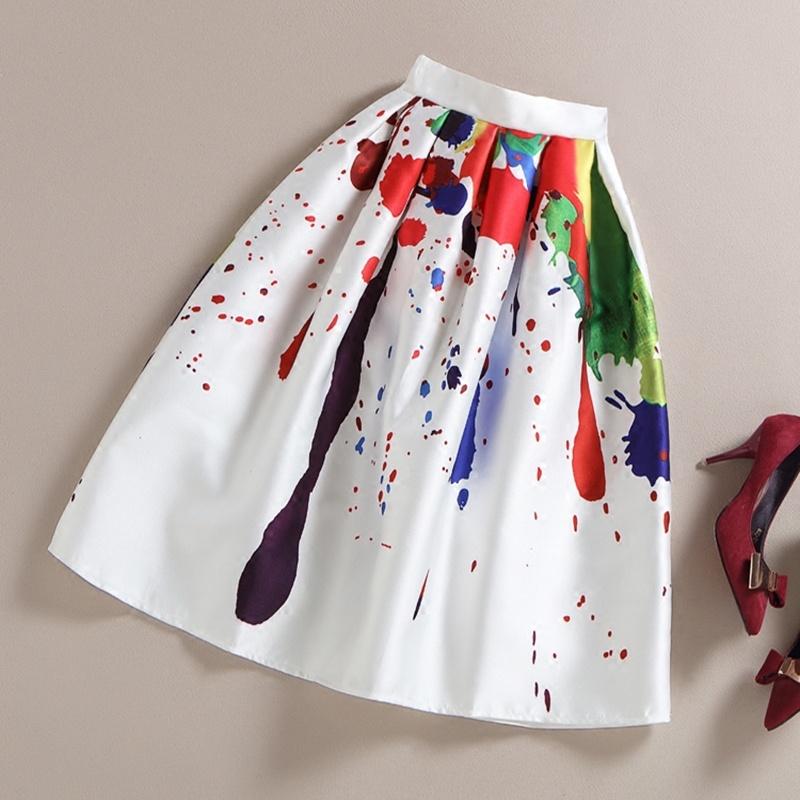 2016 Multi-colorful Printing High Waist Slim Gradient Elegant Umbrella Ladies Office A-line Midi Skirt Long(China (Mainland))