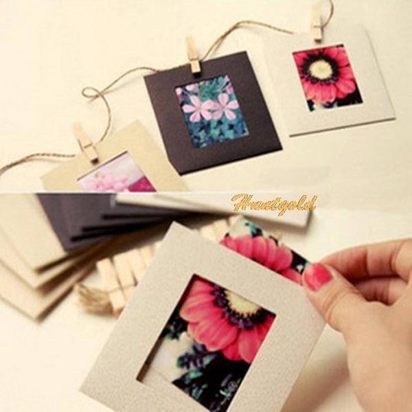 "10x Mini DIY Photo Picture 3"" Frames Clip Hanging Rope Album Card Decoration Set(China (Mainland))"