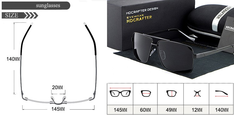 HDCRAFTER Men's Polarized Sunglass UV Protect Outdoor Eyewear Mirror Polarized Coating Lens Square Frame Sun Glasses for Male