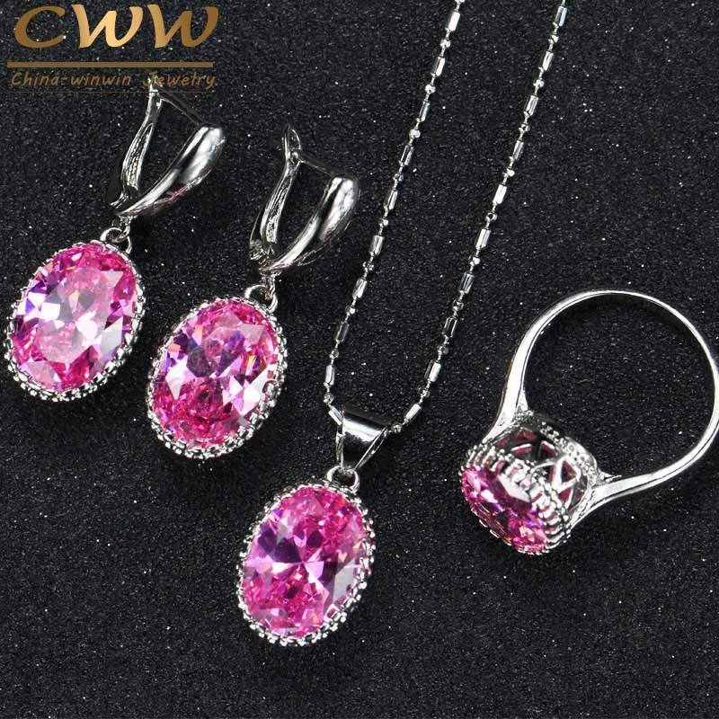 High Quality Round Purple Pink Anstrian Crystal Ladies Jewelry Sterling Silver 925 Fashion Jewellery Sets Christmas Gifts T271(China (Mainland))