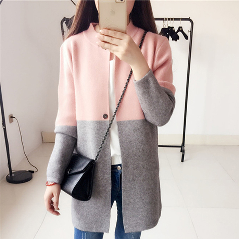 2016 New Spring Clothes Cardigan Fashion Casual Slim Long Patchwork Cardigan Long Sleeve Knitted Women Cardigan S20195