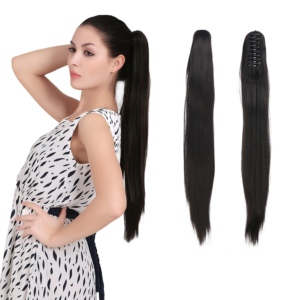 1PC Long Straight Hair Ponytail Extension 60cm 24inch Synthetic Hair Pieces Natural Ponytails Claw In Pony Tail P005(China (Mainland))