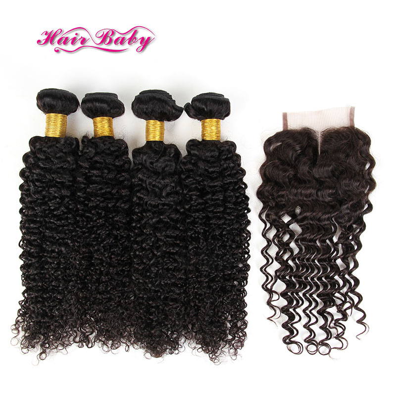 4 Bundles Virgin Peruvian Curly Hair With Closure Curly Peruvian Bundles With Closure Afro Kinky Curly Human Hair With Closures
