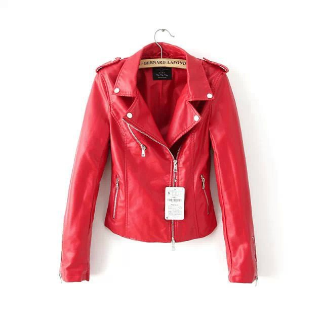 Free shipping new fashion red jacket new 2015 bomber for Red leather shirt for womens