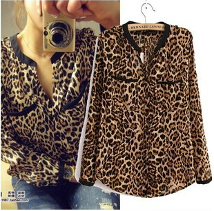 Y456 New fashion Women Wild Leopard print chiffon blouse lady sexy Long-sleeve top shirt loose plus size V neck leopard blouse(China (Mainland))