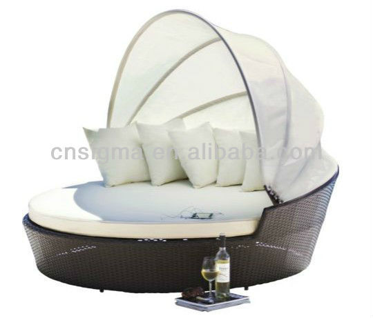 2014 Modern Design Outdoor bali day bed Poly Rattan Daybed Sunbed(China (Mainland))