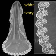 Hot Sale High Quality Wholesale Wedding Veil Bridal Accesories Lace Veil Bridal Veils White/Ivory Veu De Noiva(China (Mainland))