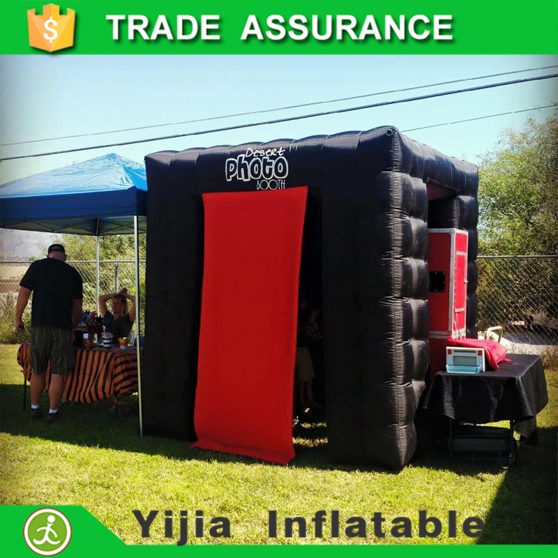 free ship by DHL 7.8ft cube black inflatable digital photo booths(China (Mainland))