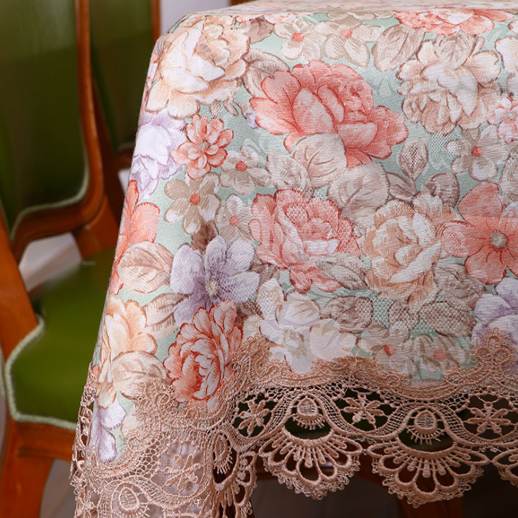 Country House Orange Flower Lace Satin Table Cover Home Decoration / Soft Vintage Table Cloth for Restaurant Table Decor(China (Mainland))
