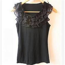 New Casual Women Tanks Vest Camisole Solid Three-Layers Lace Neck Tanks Tops Women/Brand Summer Women Clothing(China (Mainland))