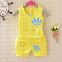 Vestidos New Summer Style Boys Girls Clothing Set Kid Sleeveless Bebes T Shirt Shorts 2pcs Tracksuits