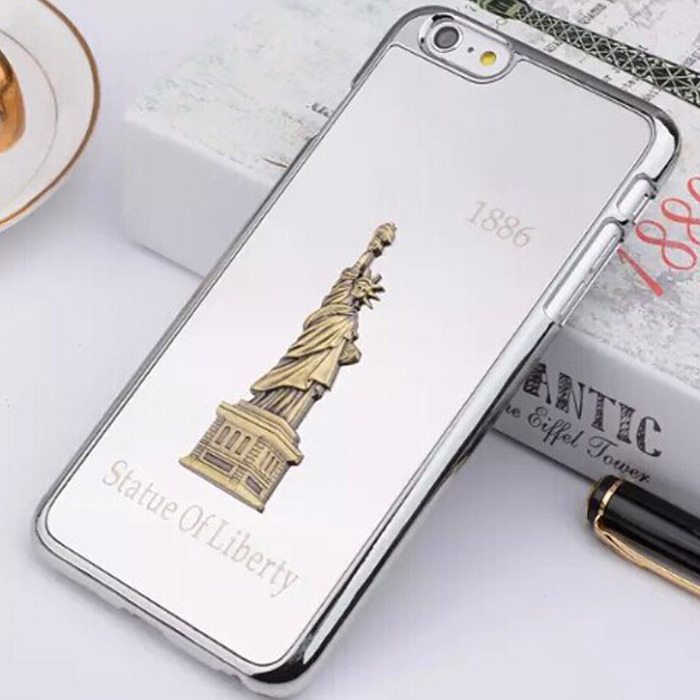 Aluminum iphone 6 4.7 plus 5.5 Luxury Chromed Mirror Surface Statue Liberty 3D Metal Plastic Hard Case Cover - GLOBAL Mall TRADE(HK store CO., Ltd.)