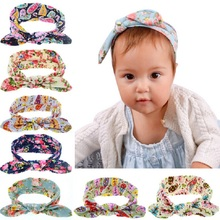 Buy Naturalwell Baby Infant Girls Flower Print Headbands Children Cute Rabbit Ear Headwraps Baby Bow kont hair Accessories HB021 for $1.09 in AliExpress store