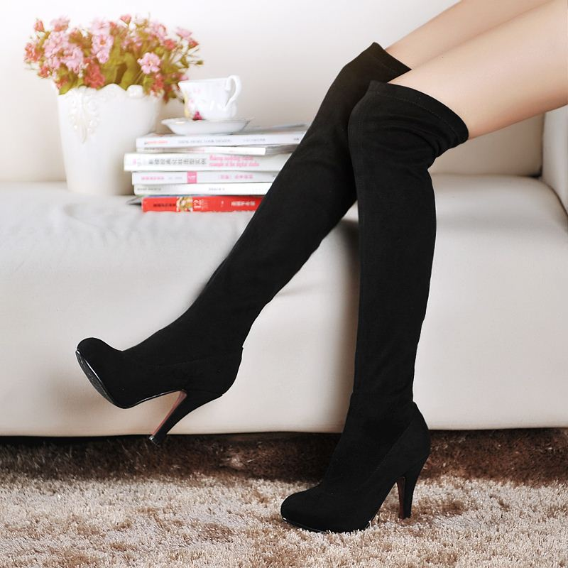 fashion women winter snow boots lady fur plush shoes woman over the knee high boots womens sexy warm boots high heels booties<br><br>Aliexpress