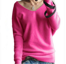 New 2015 Women Warm Cashmere Sweater Winter Fashion Knitted Pullover Autumn Casual Batwing Sleeve Knitwear Jumper 10Colors S-3XL(China (Mainland))