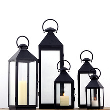 European classical iron candlestick ornaments hand wrought iron glass lantern for candles  decorative candlestick(China (Mainland))