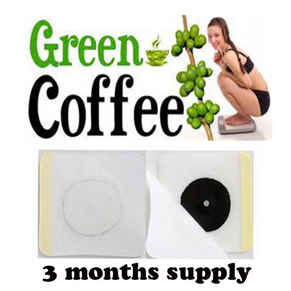 3 months supply Green coffee bean extract/diet herbal patch weight loss patches green coffee slimming pad health lose weight(China (Mainland))
