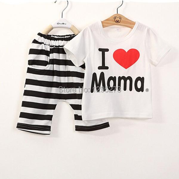 1Set Baby Boys Girls I Love Mama Short Sleeve 2T 3T 4T T-shirt+Pants Suit Kids Pajamas Set Free Shipping gAln(China (Mainland))