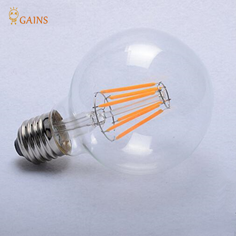 Hot sale1 x Superior Quality G80 E27 LED Filament BULB AC220-240V 4W/6W/8W LED bulb light lamp White/Warm white Edison LED bulb<br><br>Aliexpress