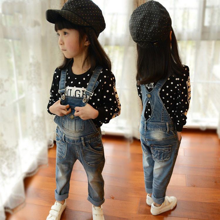 Girls bib overalls Denim Brand Spring&Autumn Kids Jumpsuit High Quality Girls jeans 2-8T Bib Pants blue jeans overalls for girls(China (Mainland))