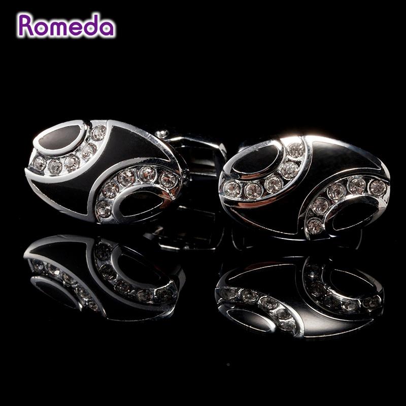 Elegant Gemelos Beautiful Personality Oval Copper Alloy Cufflinks Elegant Imitated Diamond Cufflinks Jewelry For Mens Gifts(China (Mainland))