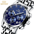 2017 LUXURY Men Business Top Brand Silver Steel Quartz Watch Chronograph Luminous Date Clock Men s