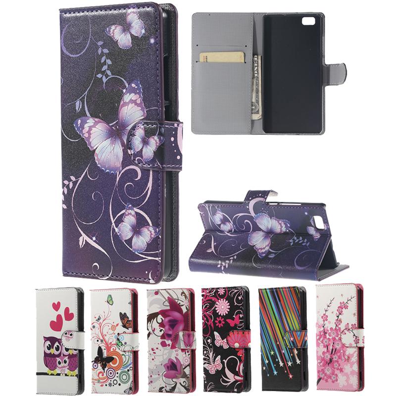 Charm plum blossom Pattern Phone Fundas For Ascend Huawei P8 Lite Case Flip Cover Wallet Holder Leather For P8 Lite Shell Skin(Hong Kong)