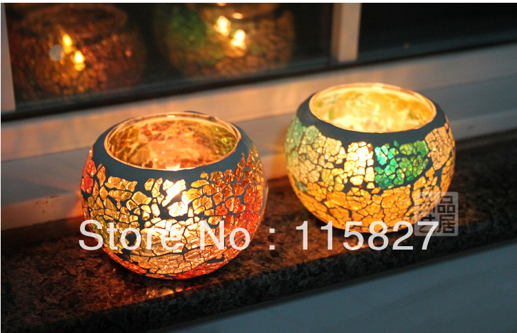 Free shipping!Mosaic glass shining candle holder autumn color hand-made lantern house or party decoration 6color 2pcs/lot(China (Mainland))