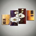 4 piece canvas wall art abstract modern red white Orchid flower handmade wall painting flower canvas