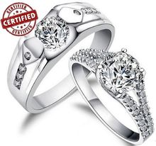 A pair of rings 100 Sterling 925 Silver Simulated Diamond Promise Engagement Wedding Rings
