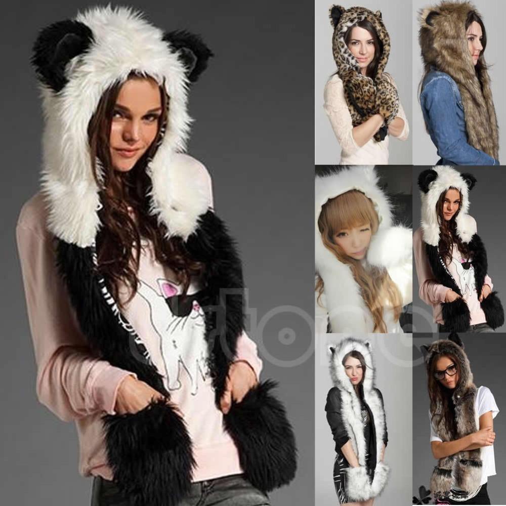 Winter Faux Fur Hood Animal Hoods Hat Cap Cartoon Plush Hats With Scarf Paws Sets Warm Caps Beanies Cartoon Panda Wolf Hat(China (Mainland))