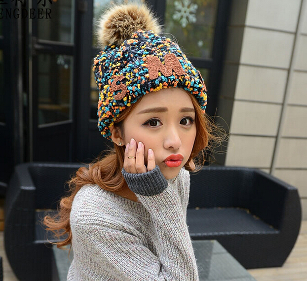 Top Quality New Fashion Lady Skullies Beanies Knit Winter Hat Cap With Real Fur Pom pom Ball Women Wool Knitted Fur Hats(China (Mainland))