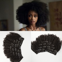 2015 New Coming Virgin Mongolian Human Hair 4a/4b/4c Afro Kinky Curly Clip In Hair Extensions For Black Woman(China (Mainland))