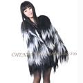 CX G A 24B Women Winter Striped Genuine Goat Fur Fashion Clothing