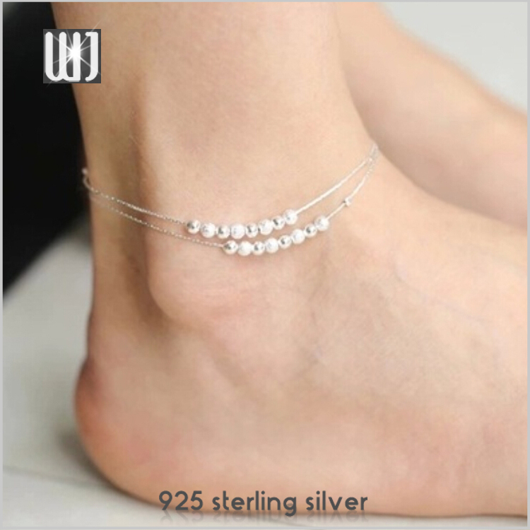 Korean Fashion 925 Sterling Silver Beads Double Chain Anklets Chain Link Foot Bracelet Jewelry Anklet Personality Accessories(China (Mainland))