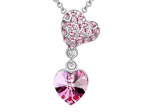 Wholesale Free Shipping Pink Heart Pendant Necklace use Austrian Crystal CSN408(Hong Kong)