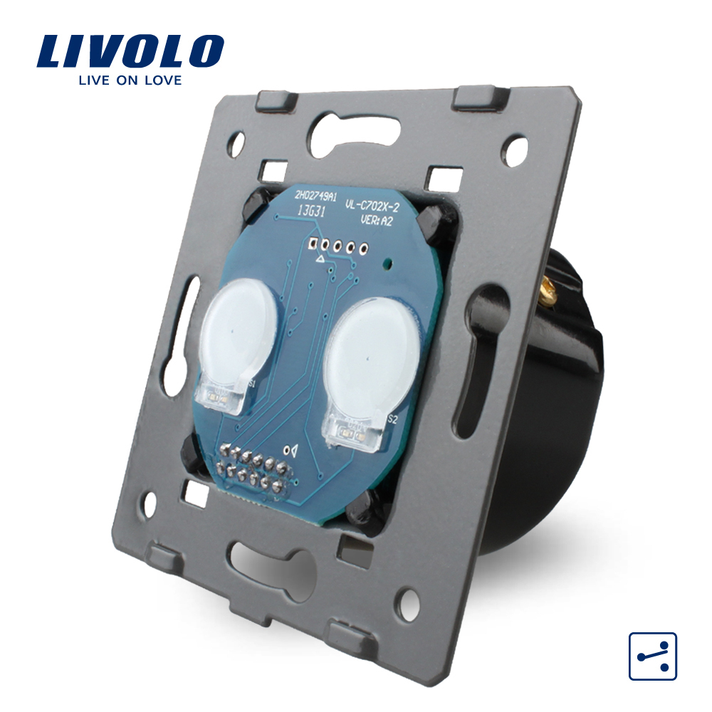 Manufacturer, Livolo EU Standard The Base Of Touch Switch, 2 Gang 2 Way Control Switch Without Glass Panel, VL-C702S(China (Mainland))