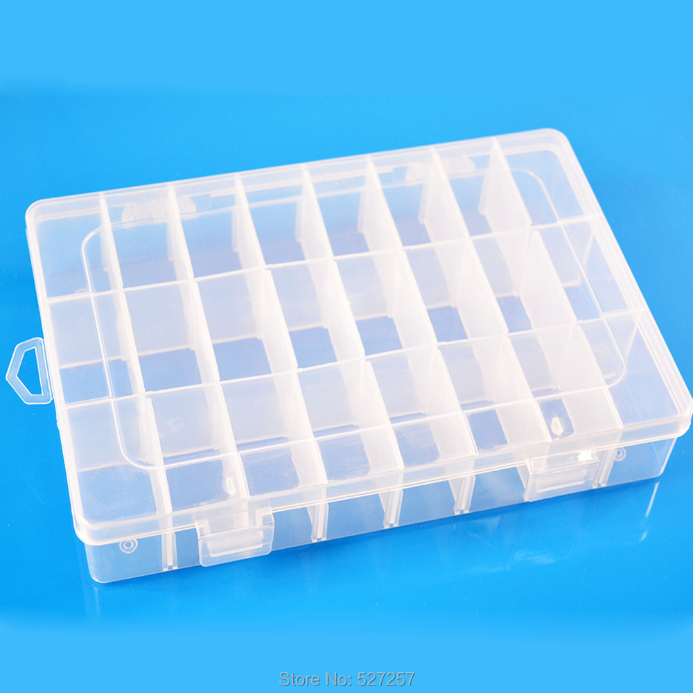 Adjustable Plastic 24 Compartment Storage Box Jewelry Earring Bin Case Container(China (Mainland))