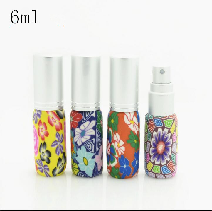 Free Shipping 6ml Flower Pattern Glass Spray Parfume Bottle Women Perfume Makeup Setting Spray Empty Packaging Glass Bottles(China (Mainland))