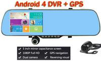 "New FHD 1080P 5""  Android Car DVR Camera GPS Navigator Wifi FM Parking Rear view Mirror Dash cam Dual Camera Video Recorder"