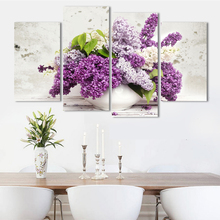 Buy 4Pcs Large HD Lilac Flower Canvas Painting Beautiful Wall Art Modular Pictures Modern Abstract Art Wall Pictures Living Room for $19.35 in AliExpress store