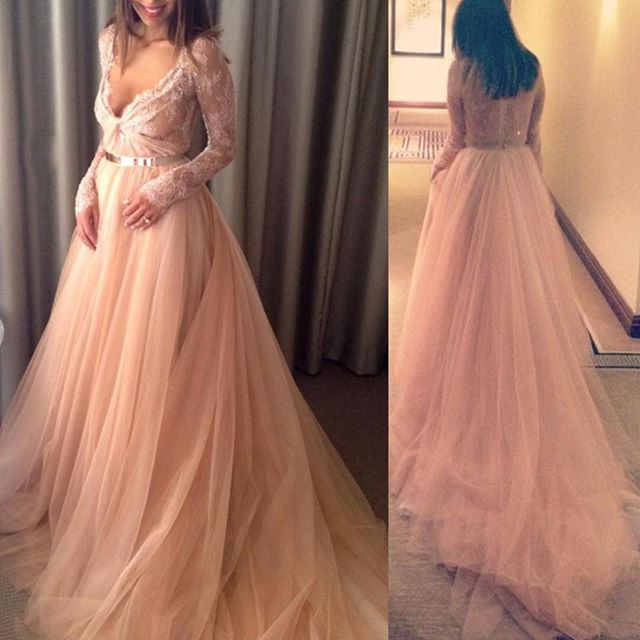 New Fashioned Ball Gown V-Neck Long Sleeves Tulle Floor Length Court Train Discount Wedding Bridal Gown Dresses 2016(China (Mainland))