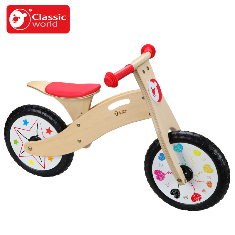 Classic World wooden rade on bike children balance ride on bicycle ride walker can take a step(China (Mainland))