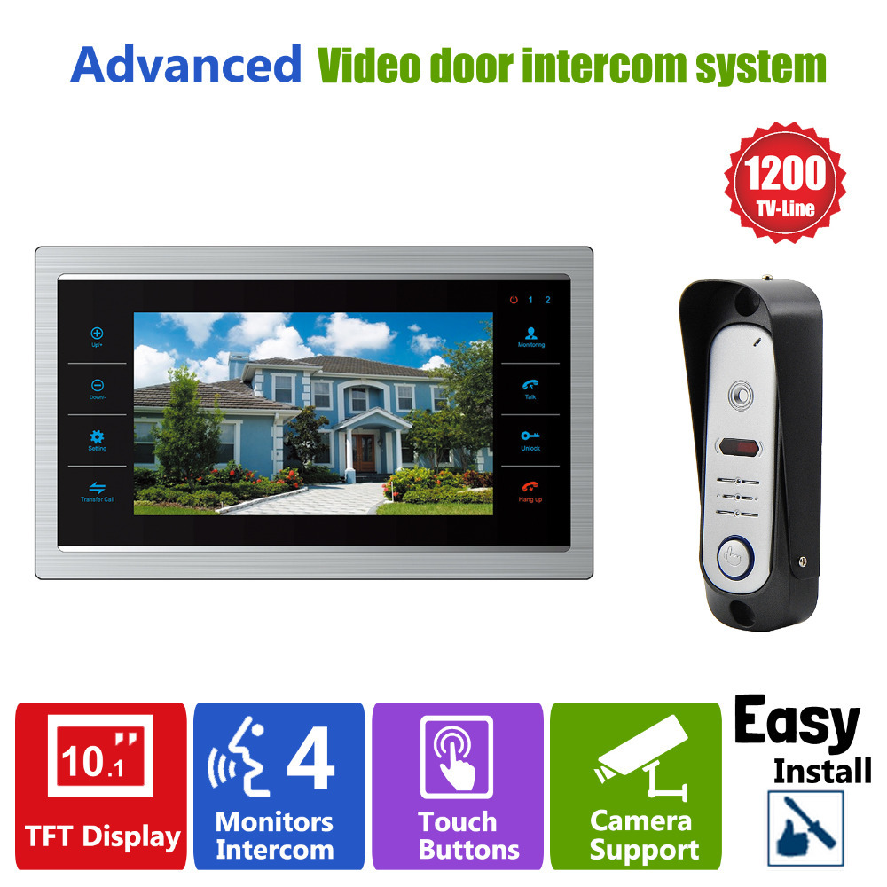 YSECU 10 TFT LCD Door Phone Video Doorbell System with Pinhole Camera 3.6MM Lens 1200TVL 1V1 Home Apartment Entry Kit(China (Mainland))