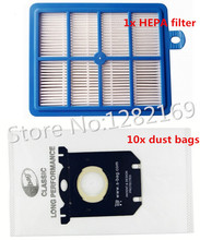 10x Vacuum Cleaner Dust Bags s-bag and 1x H12 Hepa filter Replacement for Philips Electrolux Cleaner Free Shipping to Ru!