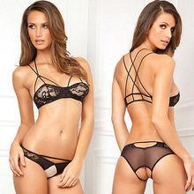 Hot Women Sexy Lingerie Lace Dress Black Babydoll Sleepwear Bra Underwear G-string Bra Set